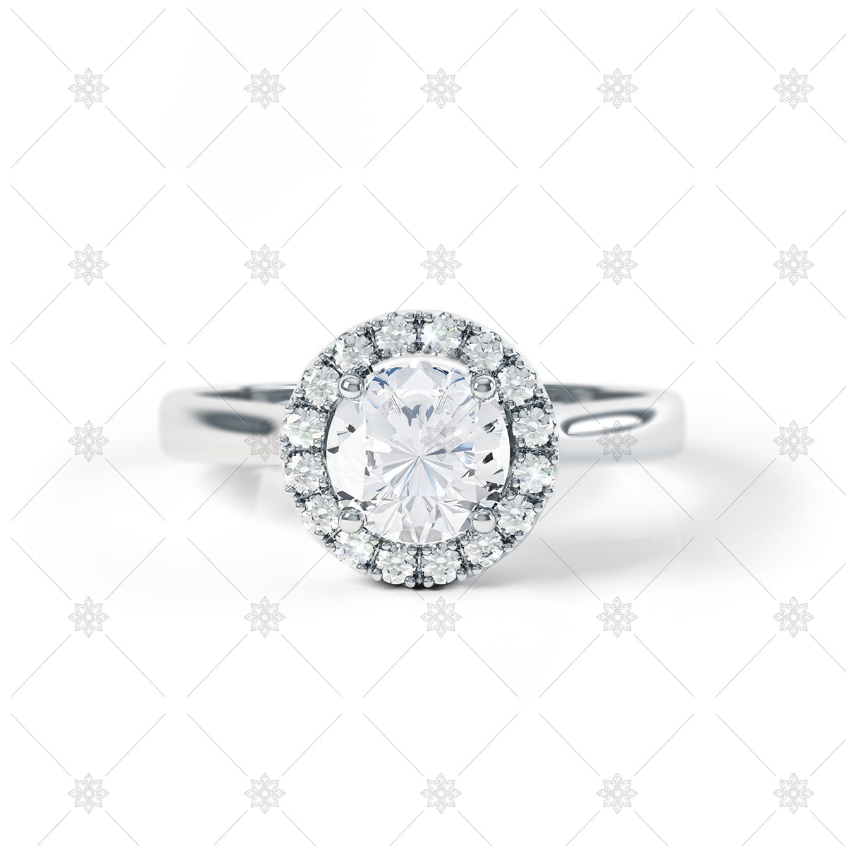 Diamond Halo Ring in White Gold