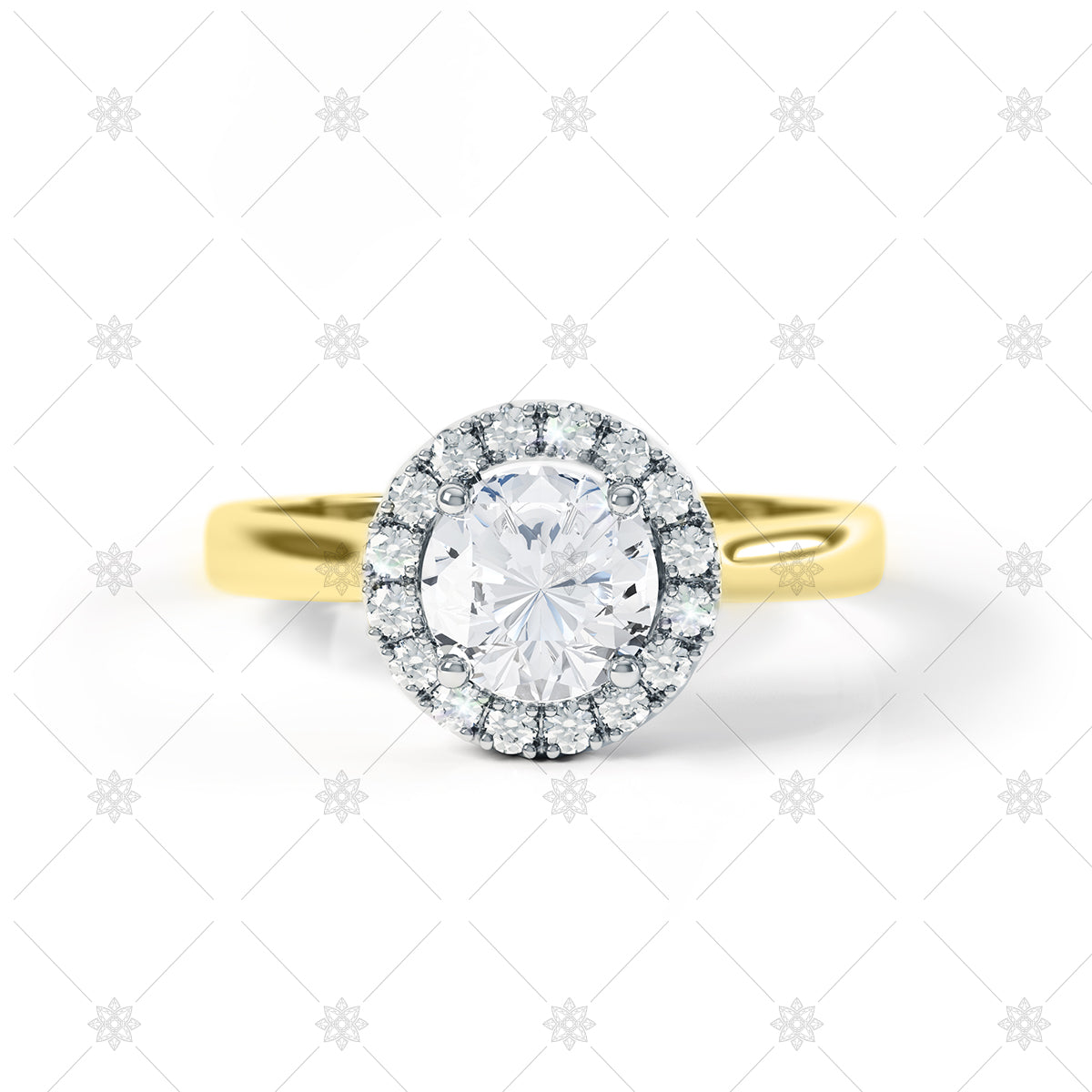 Diamond Halo Ring Image in Yellow Gold