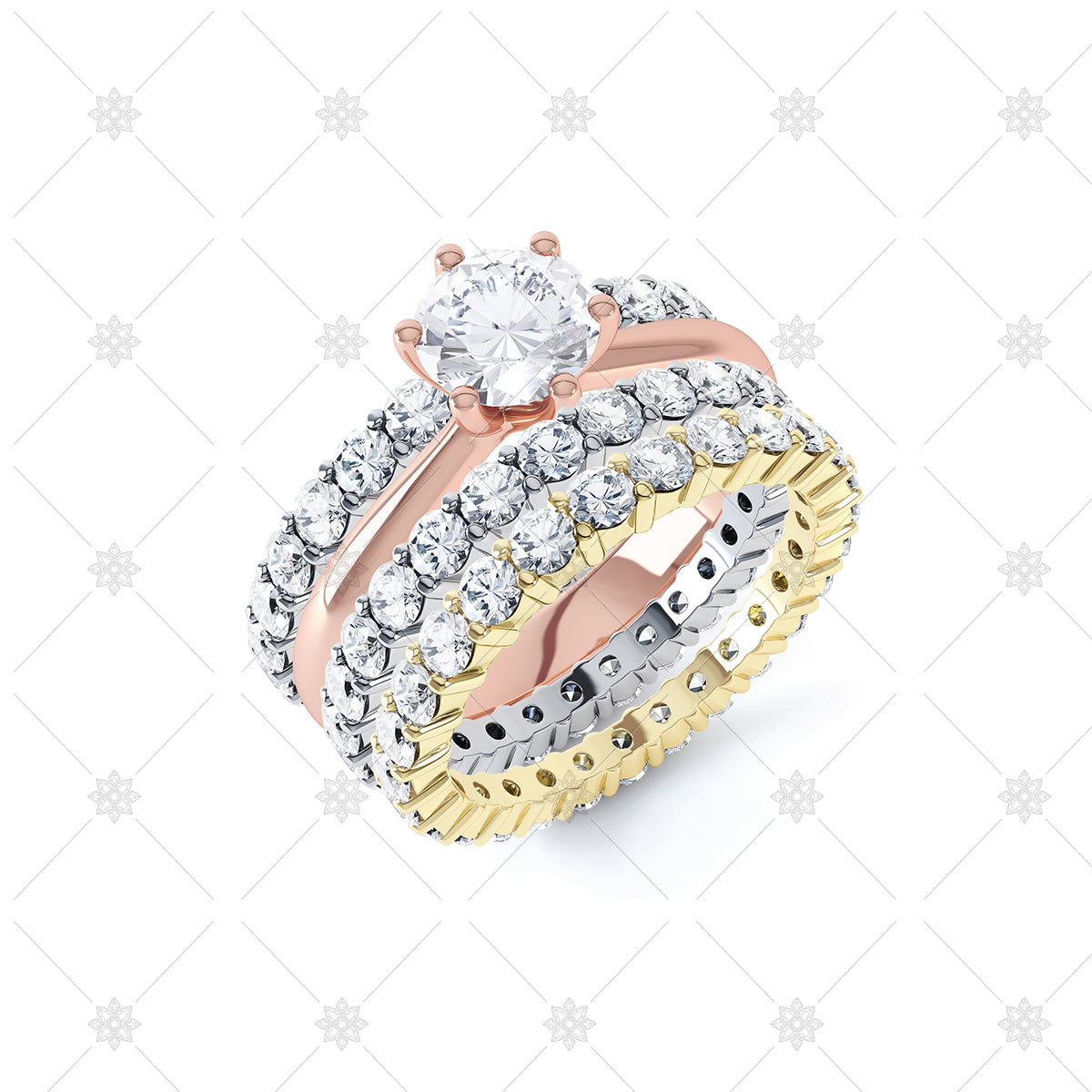 stackable ring set with diamond solitaire