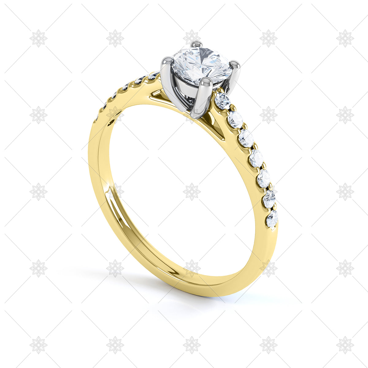 diamond solitaire yellow gold semi set