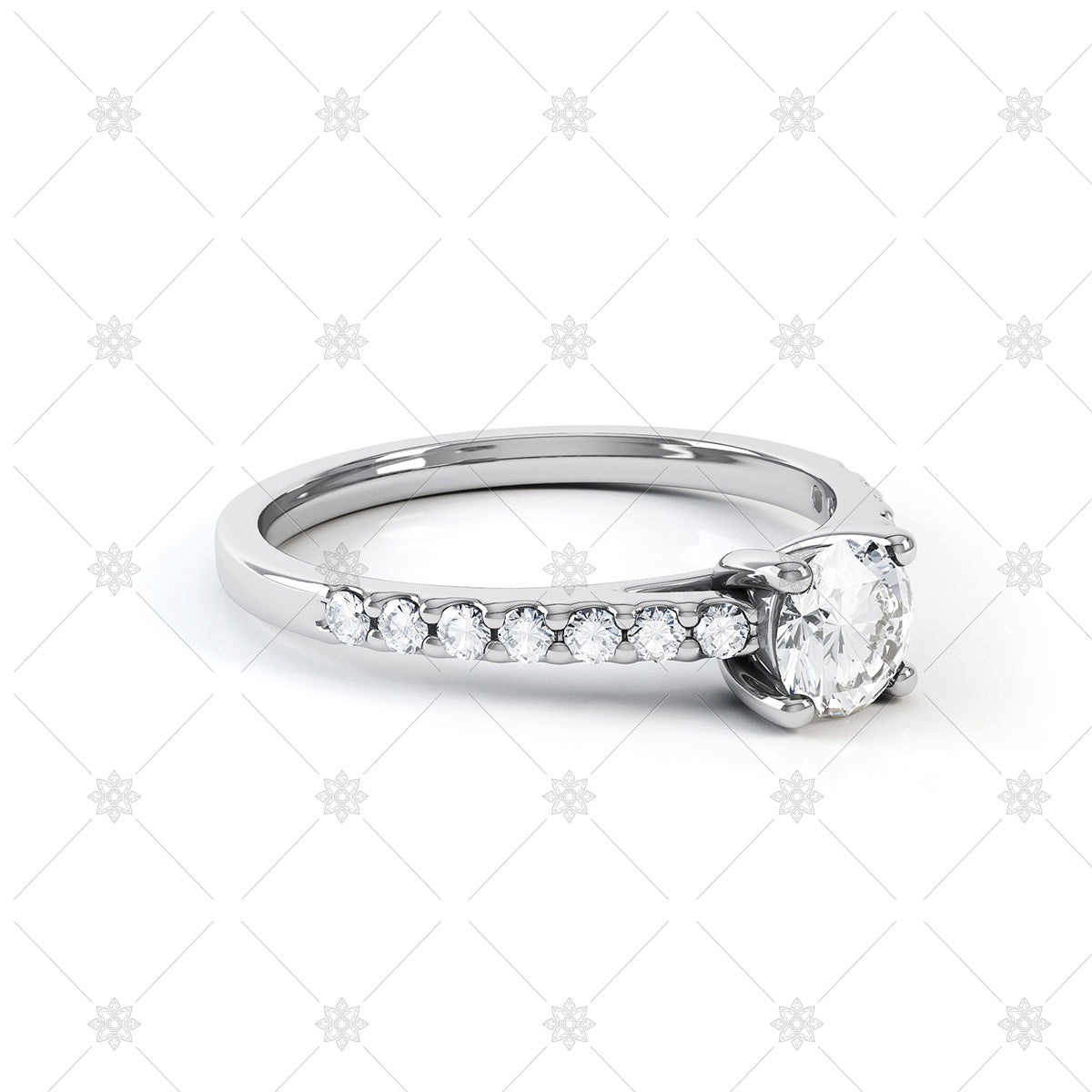 diamond solitaire ring with pave shoulders