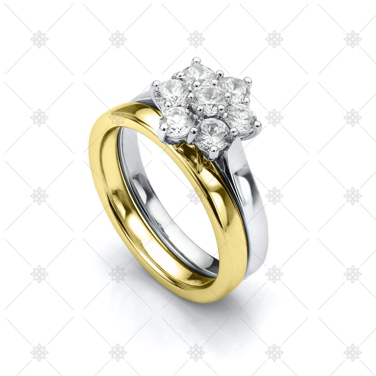 Halo engagement ring and wedding ring set