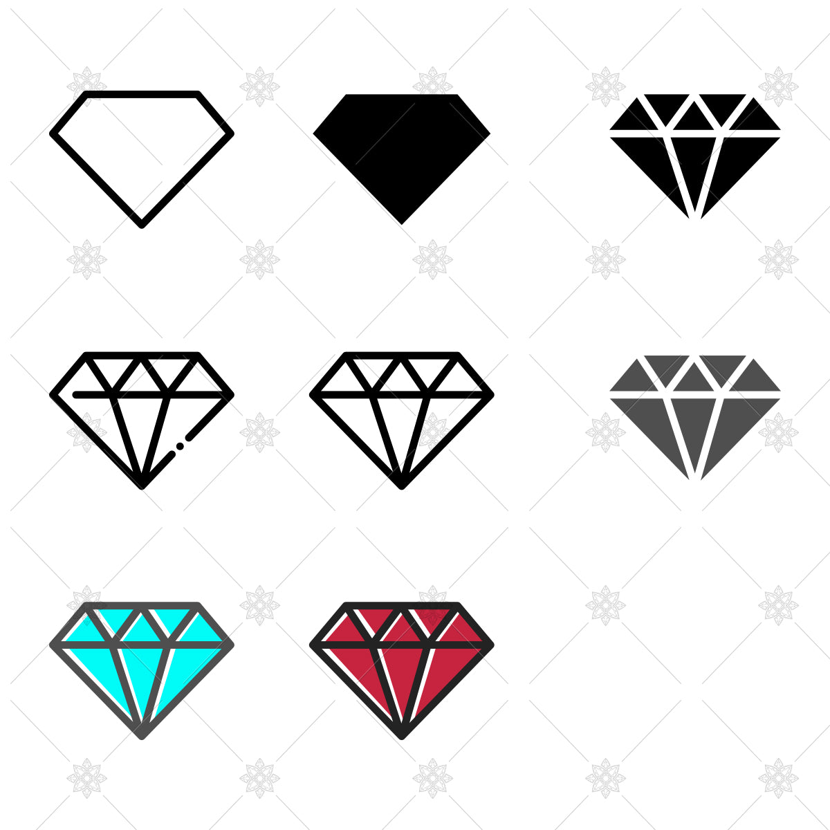 diamond vector icons for websites and apps