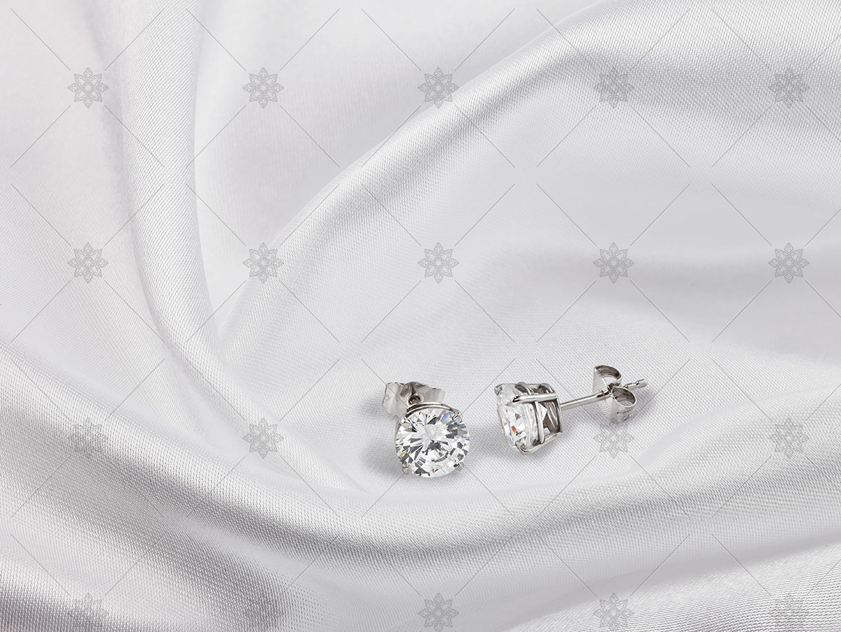 stud earrings on white gold & silk