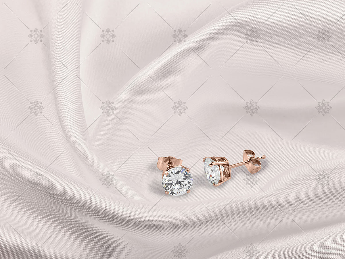 diamond stud earrings rose gold on silk