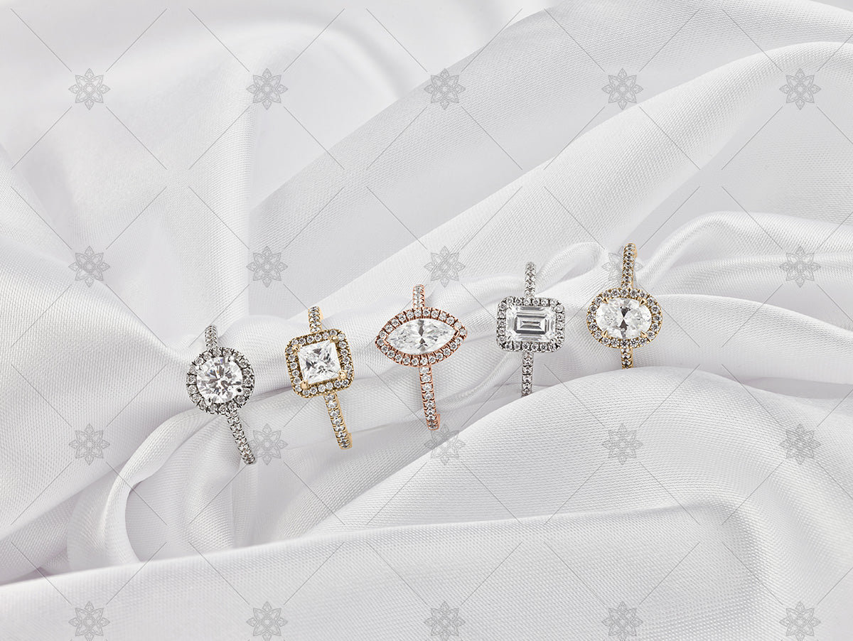 multi gold diamond cluster rings