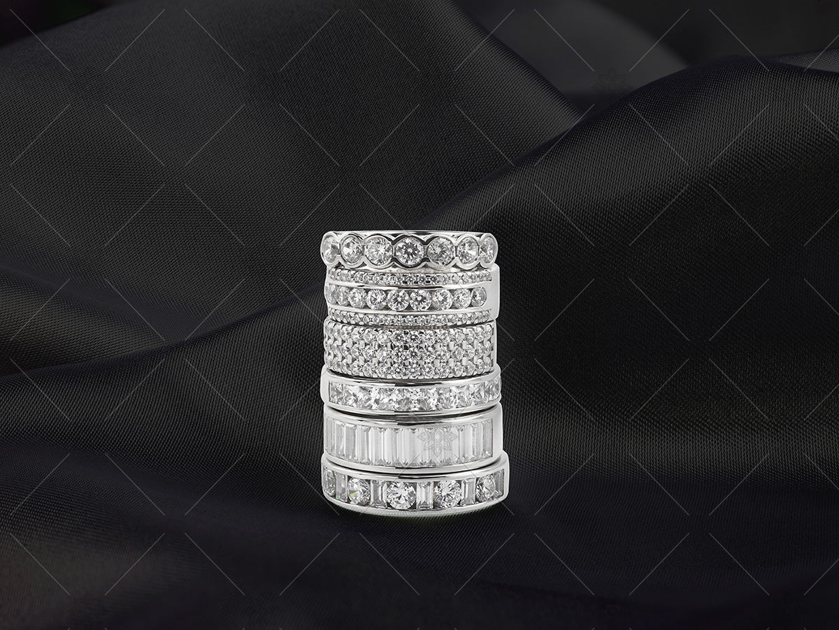 eternity ring stack on black silk
