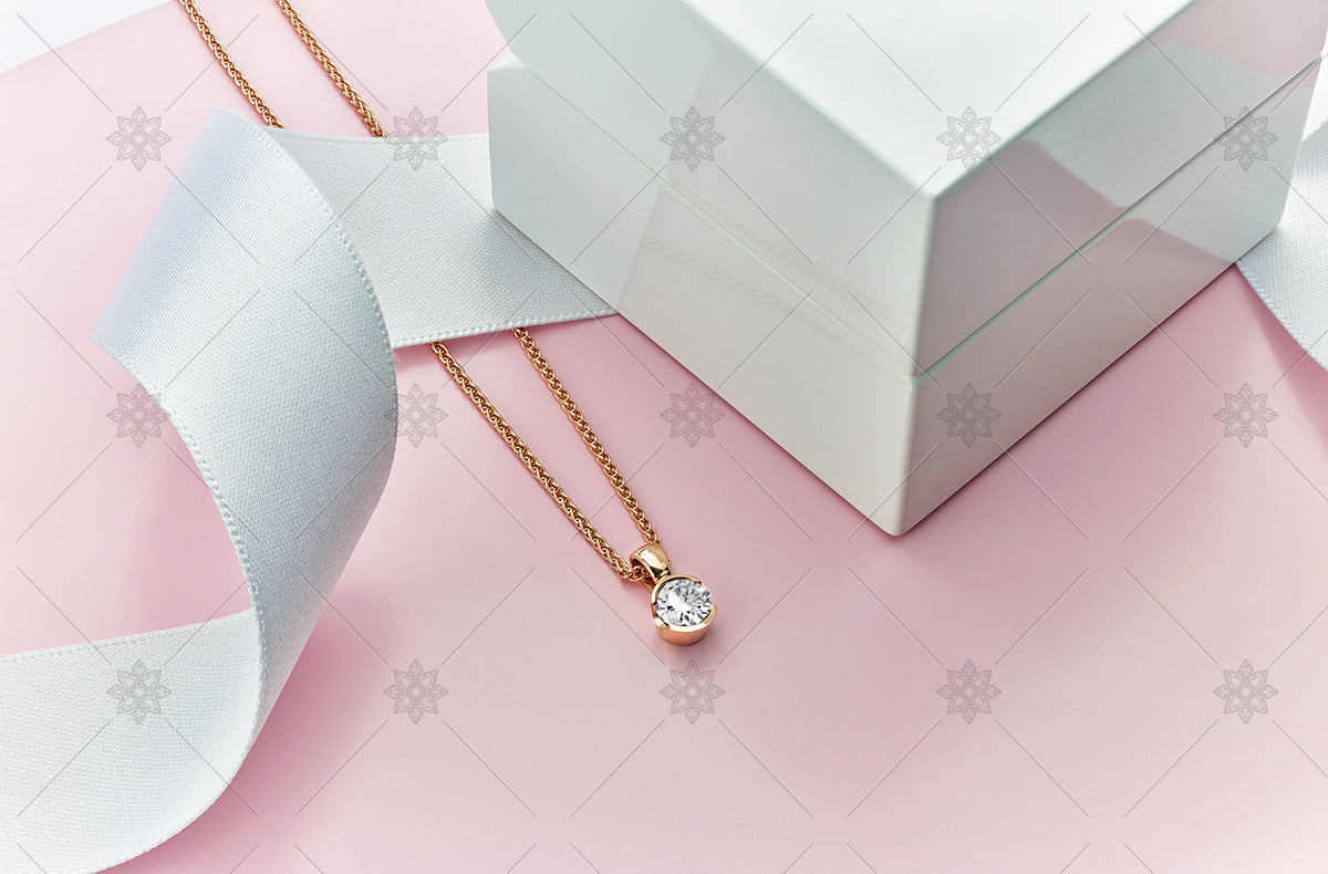 Rose gold diamond solitaire pendant
