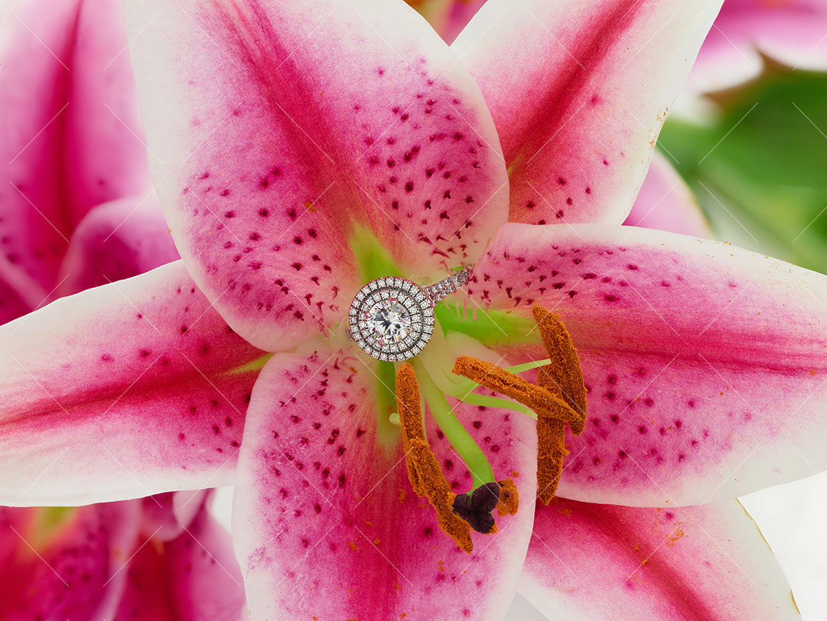 diamond halo ring and pink spring lily