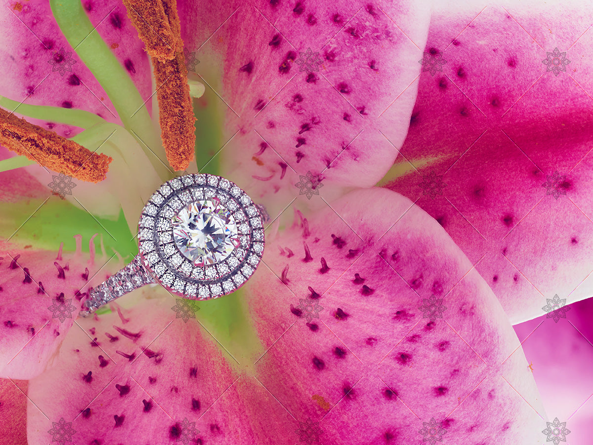 pink lily and diamond halo ring spring scene