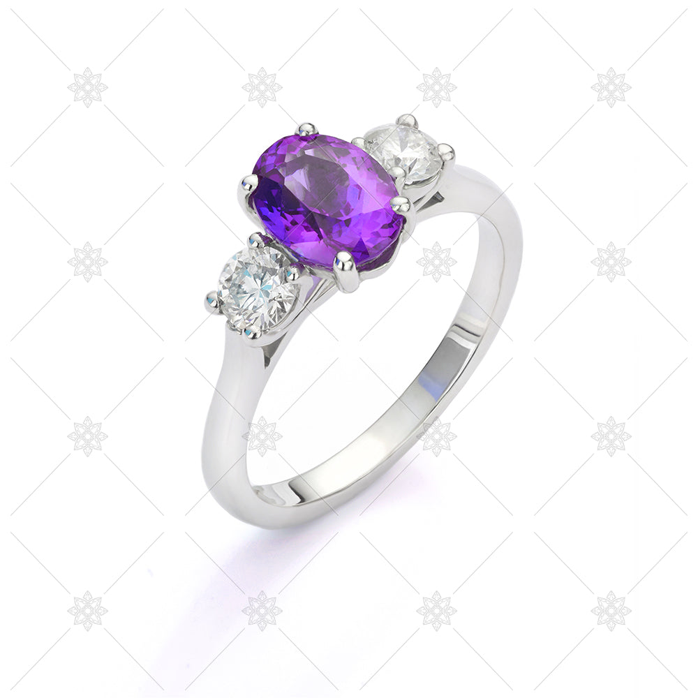 Diamond Amethyst 3 Stone Ring