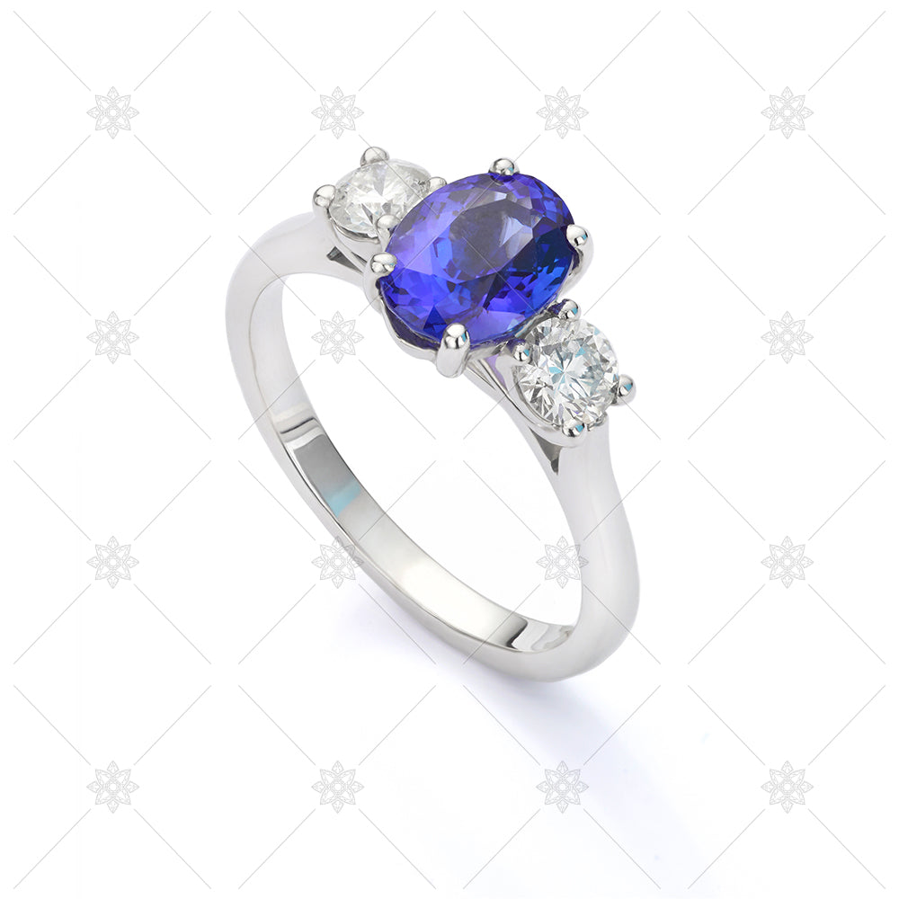 blue sapphire 3 stone ring