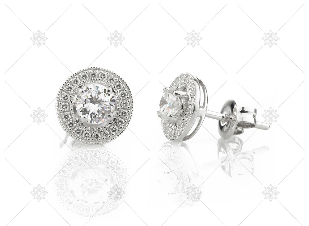 vintage earrings halo diamonds