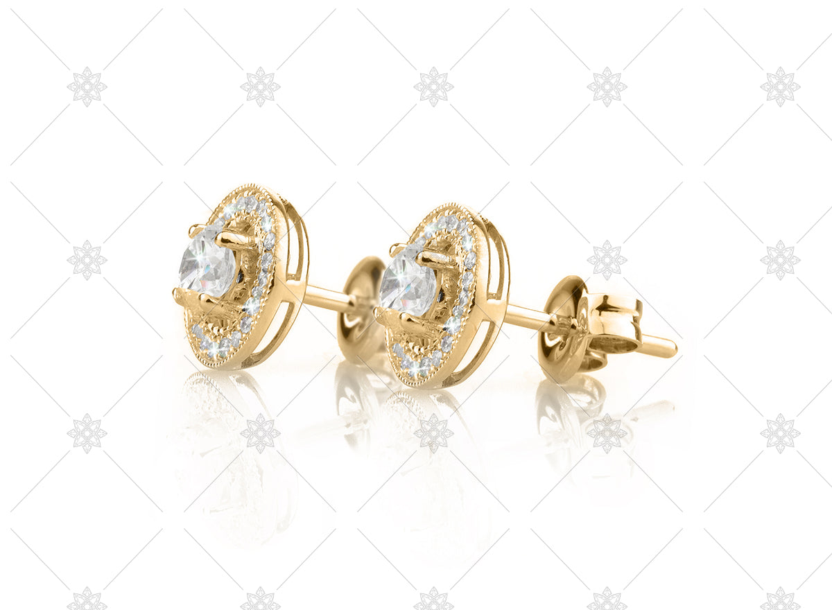 Side view vintage diamond halo earrings