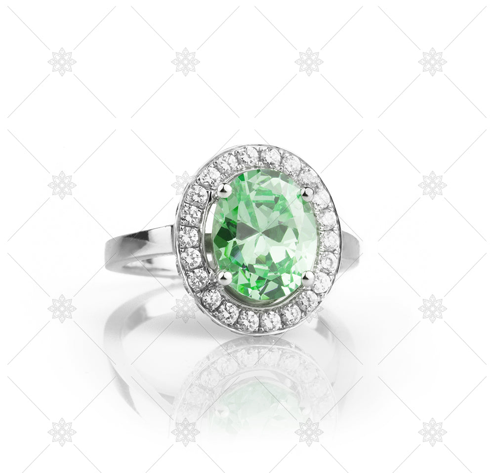 Green Halo  gemstone ring