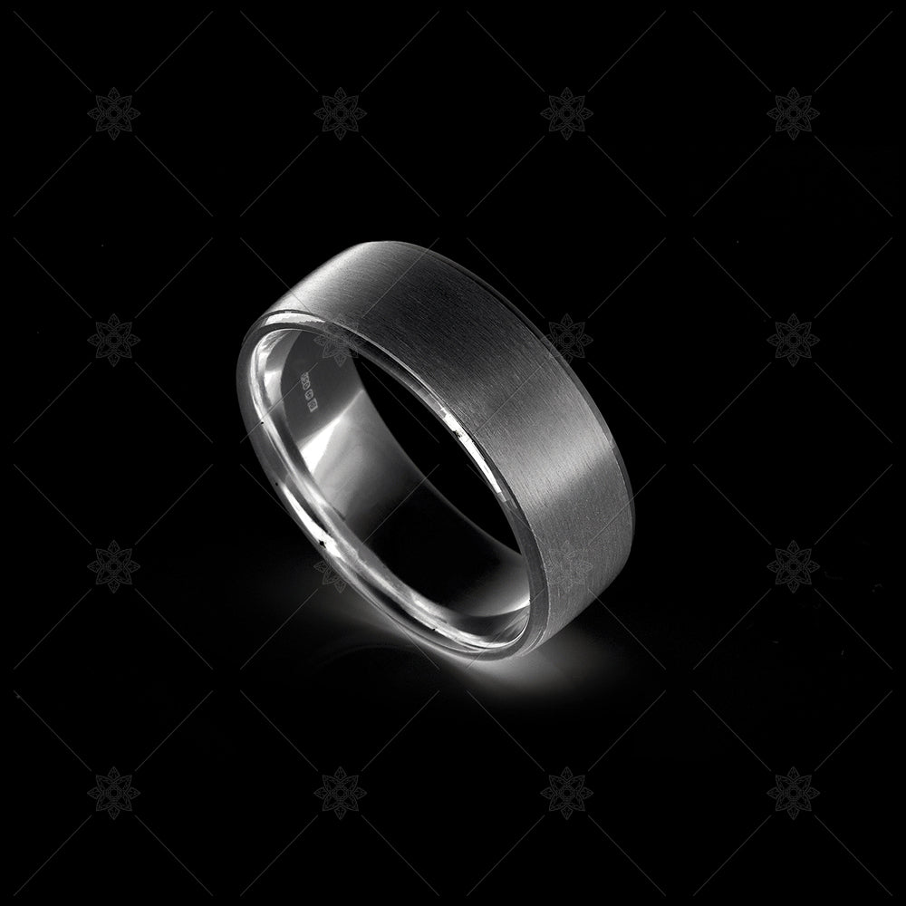 mens satin wedding ring in black