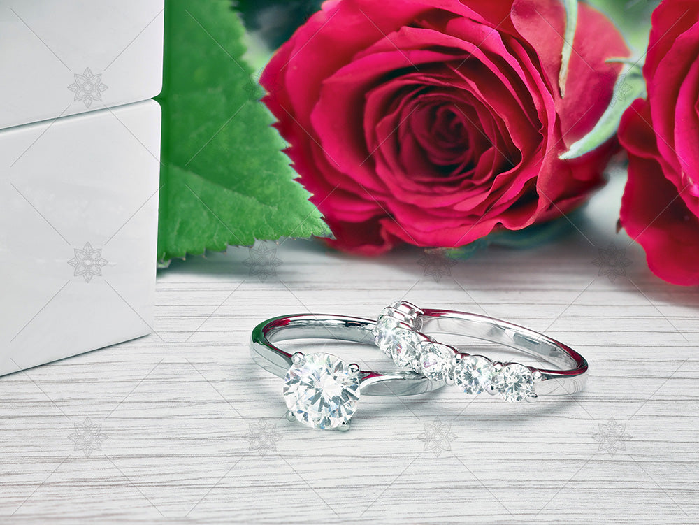 Diamond Ring scene with red roses