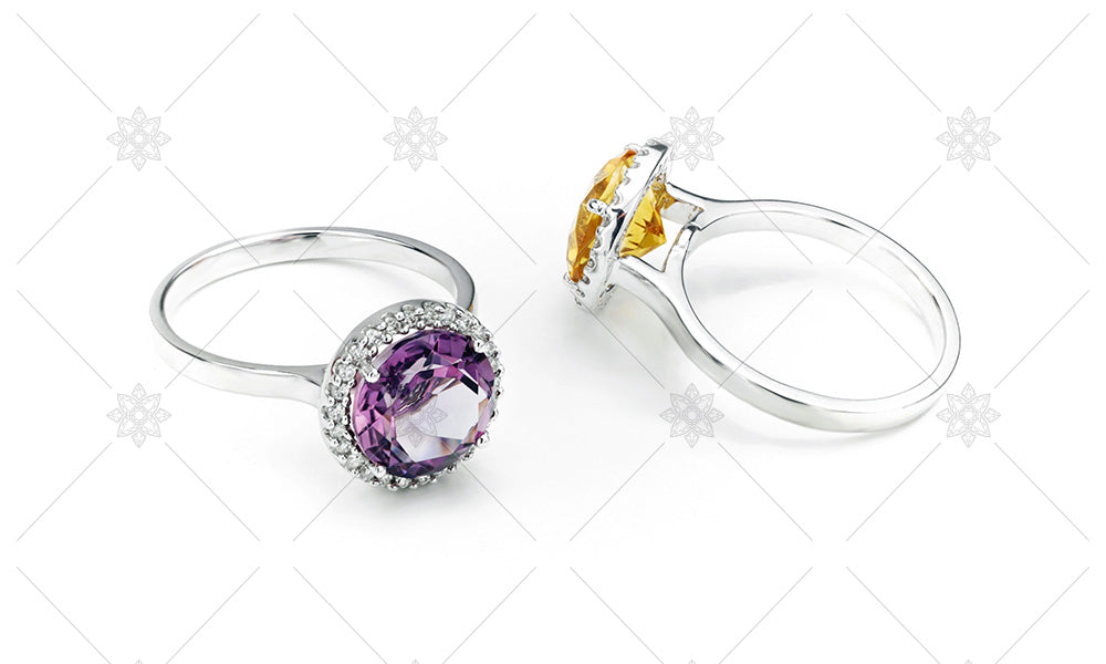 Citrine and Amethyst halo rings