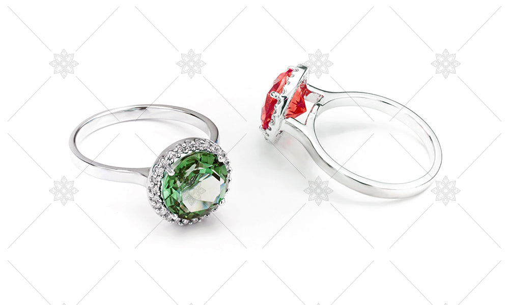 Emerald and Ruby Halo Rings