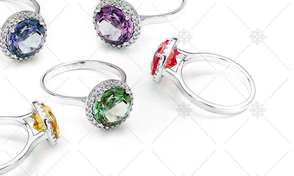 Gemstone Halo Rings