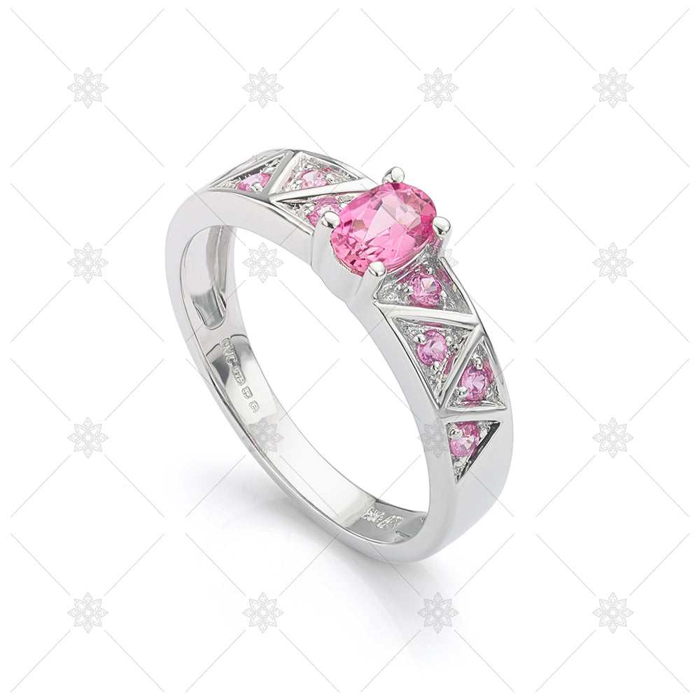 pink sapphire halo promise ring