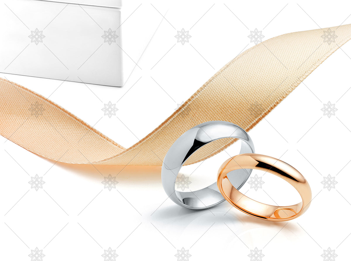 Flat court Wedding rings with ribbon