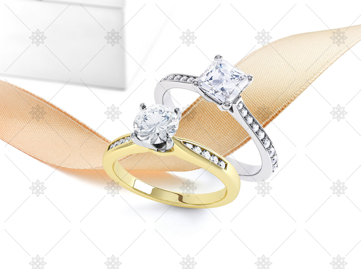 Diamond engagement rings and ribbon