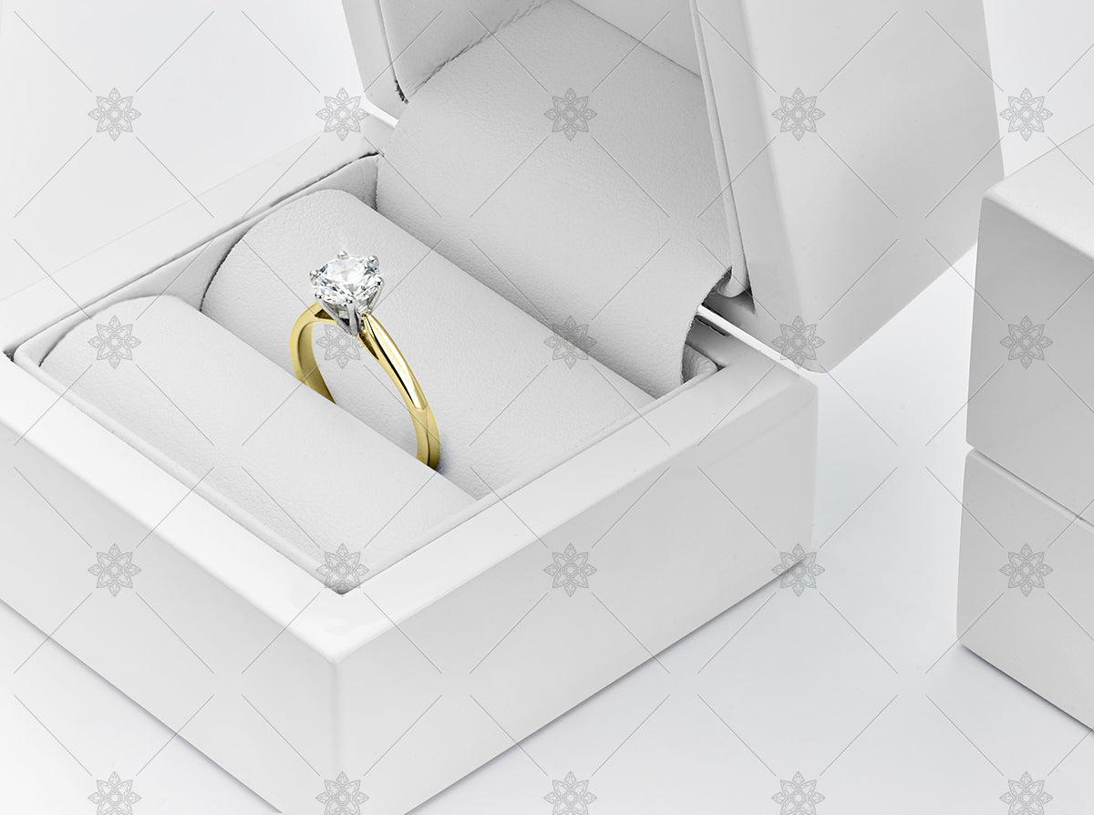 Yellow gold Diamond ring in a Gloss White Jewellery Box and Packaging