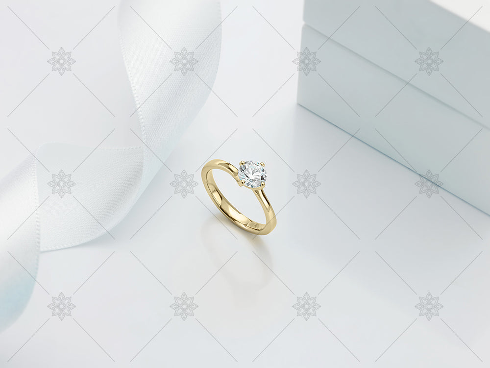 Yellow gold diamond ring and ribbon