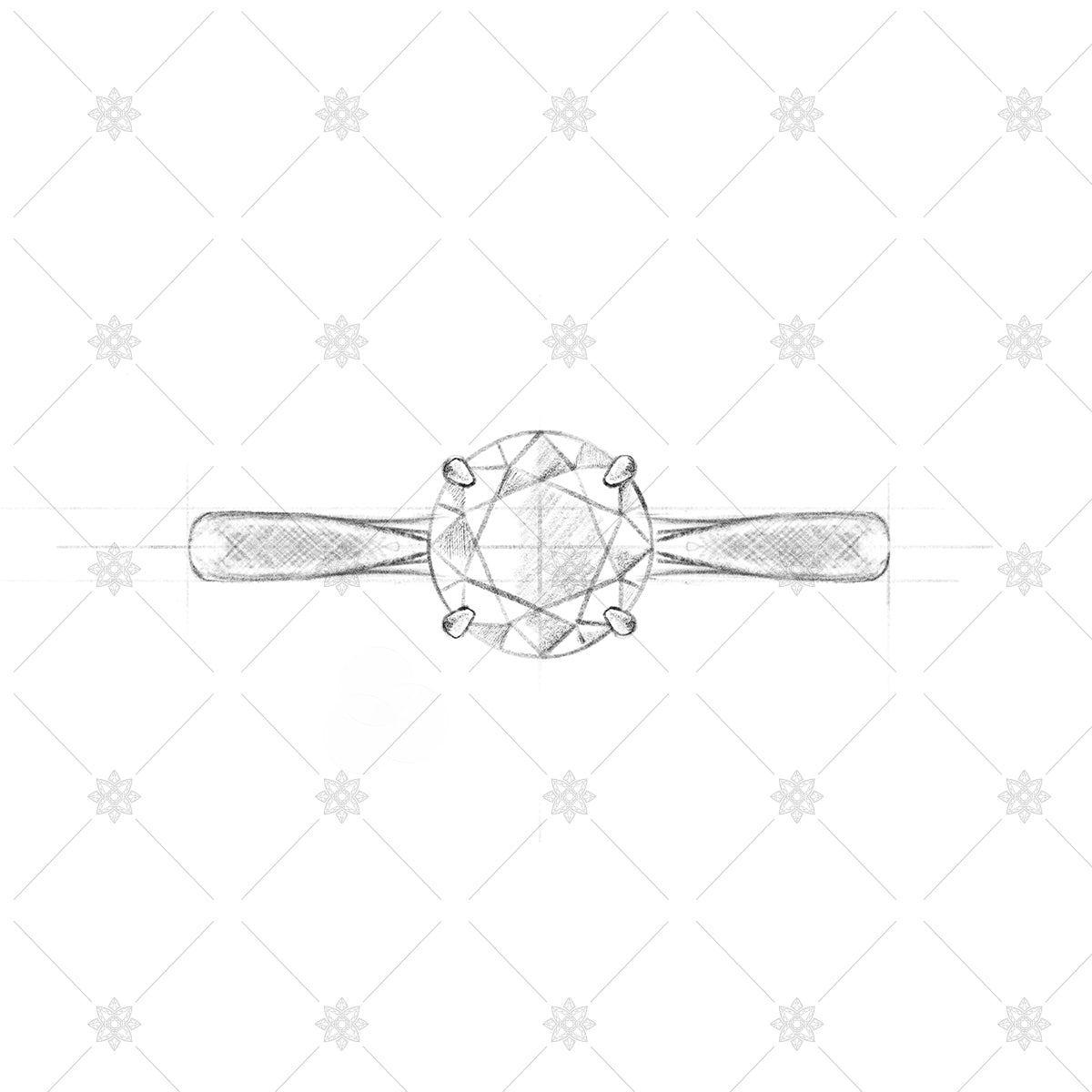 Diamond Ring Sketch - Solitaire pencil sketch