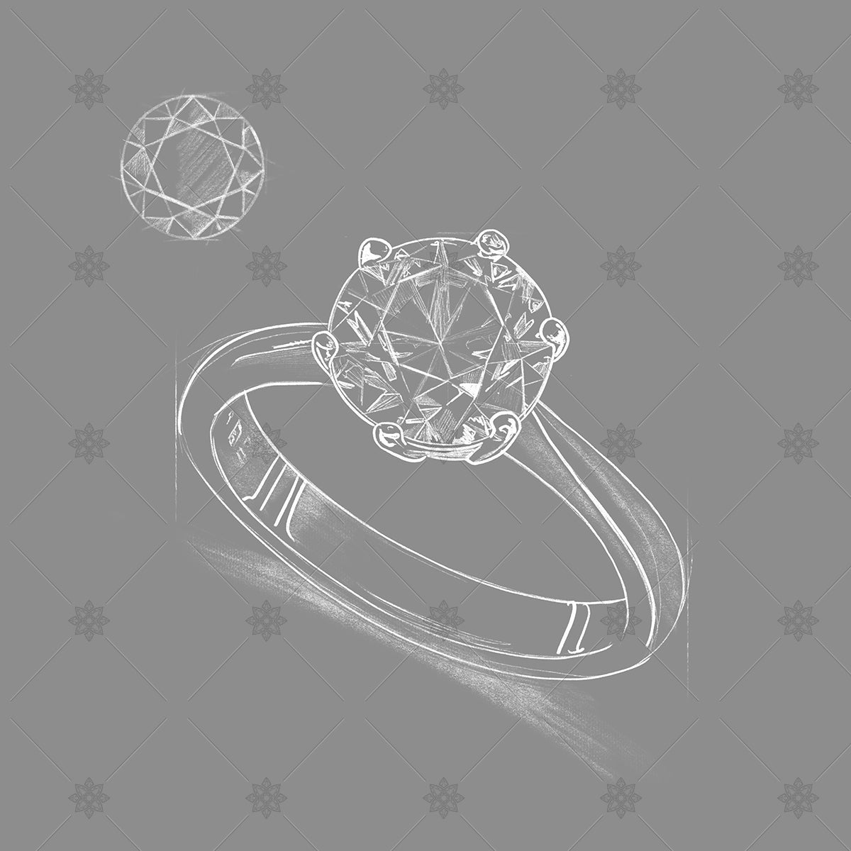 grey diamond ring sketch