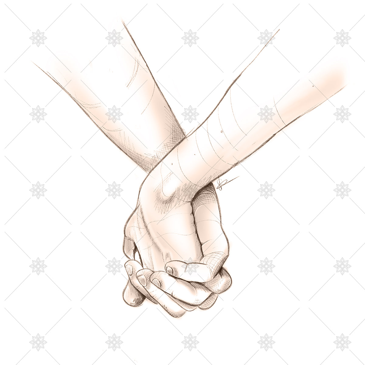 couple holding hands pencil sketch