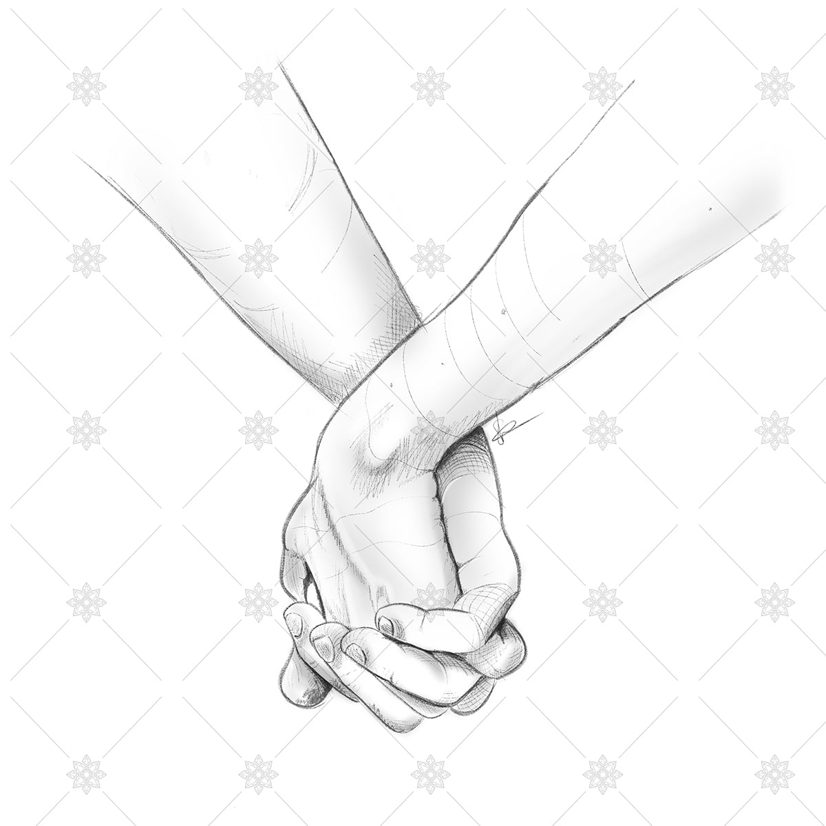 pencil sketch holding hands couple