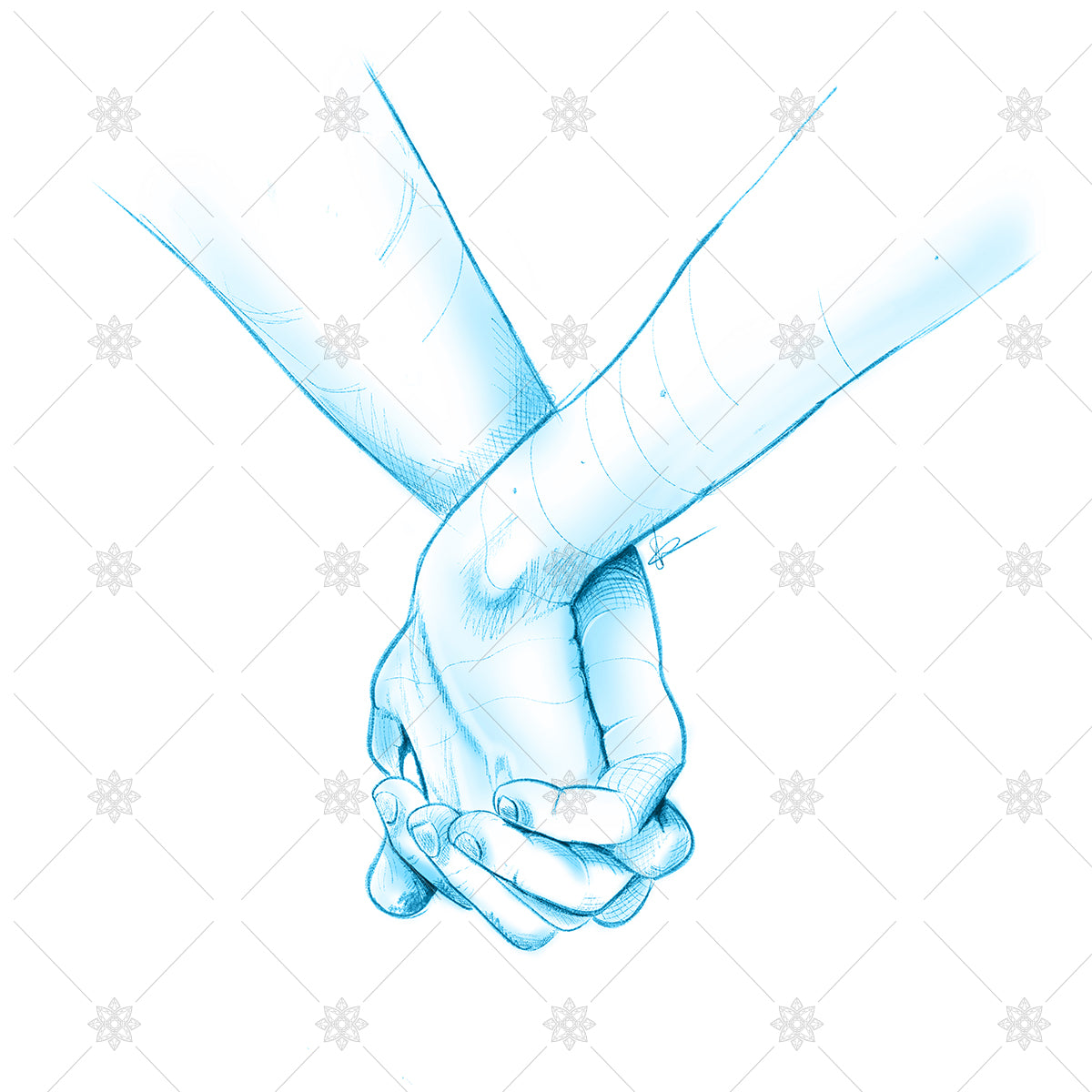 couple holding hands blue pencil sketch