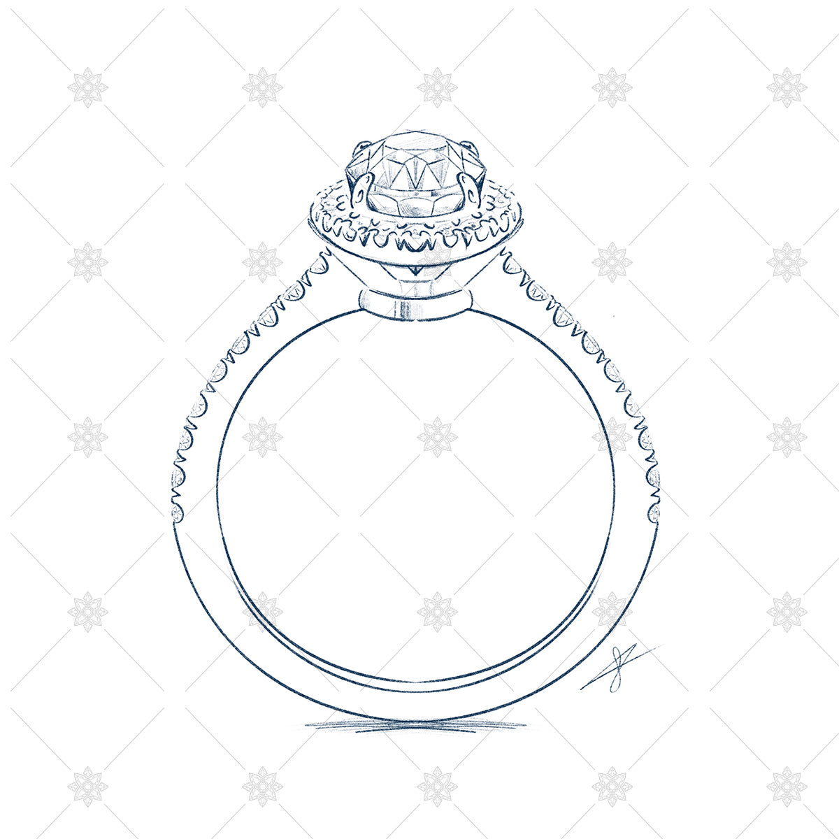 Diamond Ring Sketch gemstone drawng
