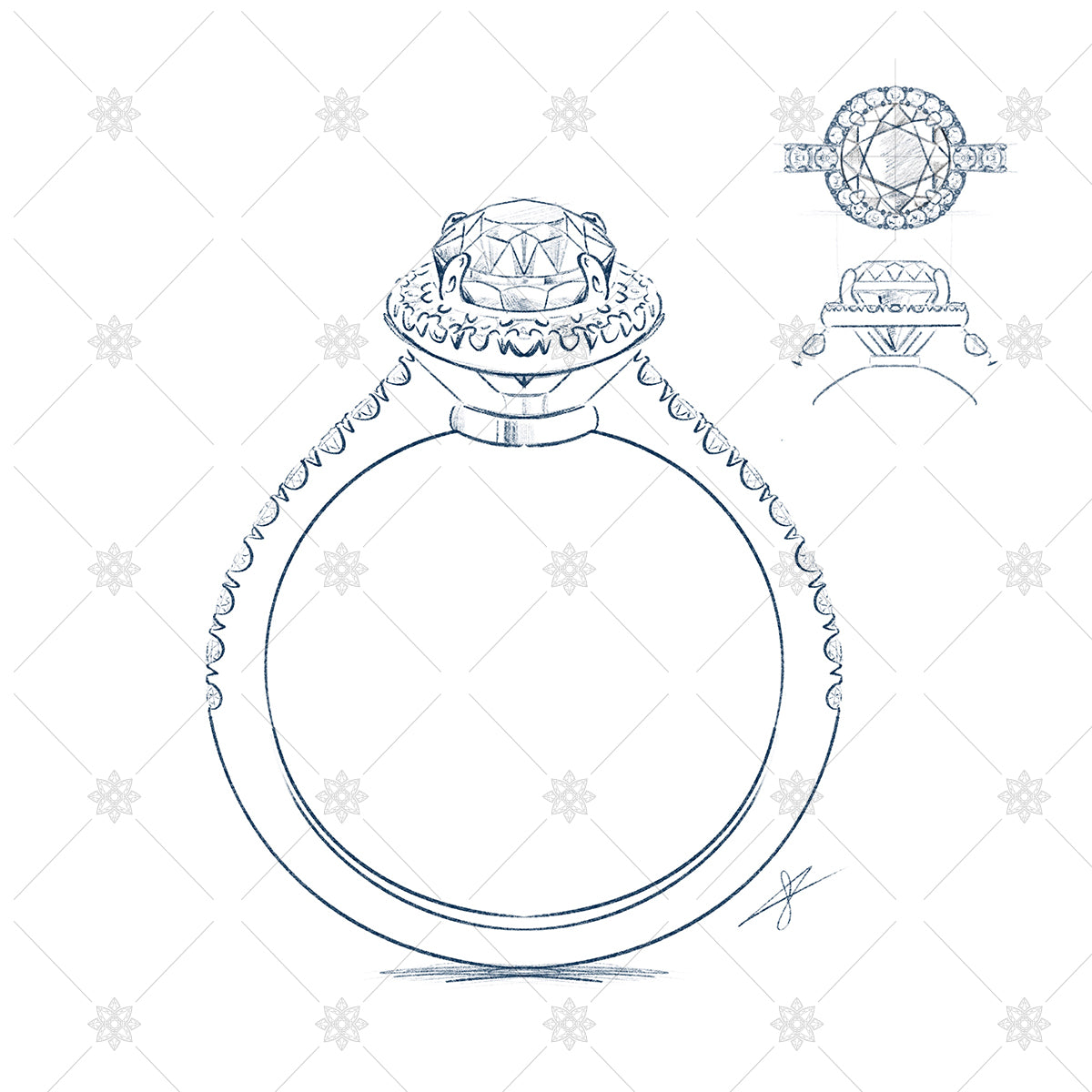 diamond ring orthographic sketches