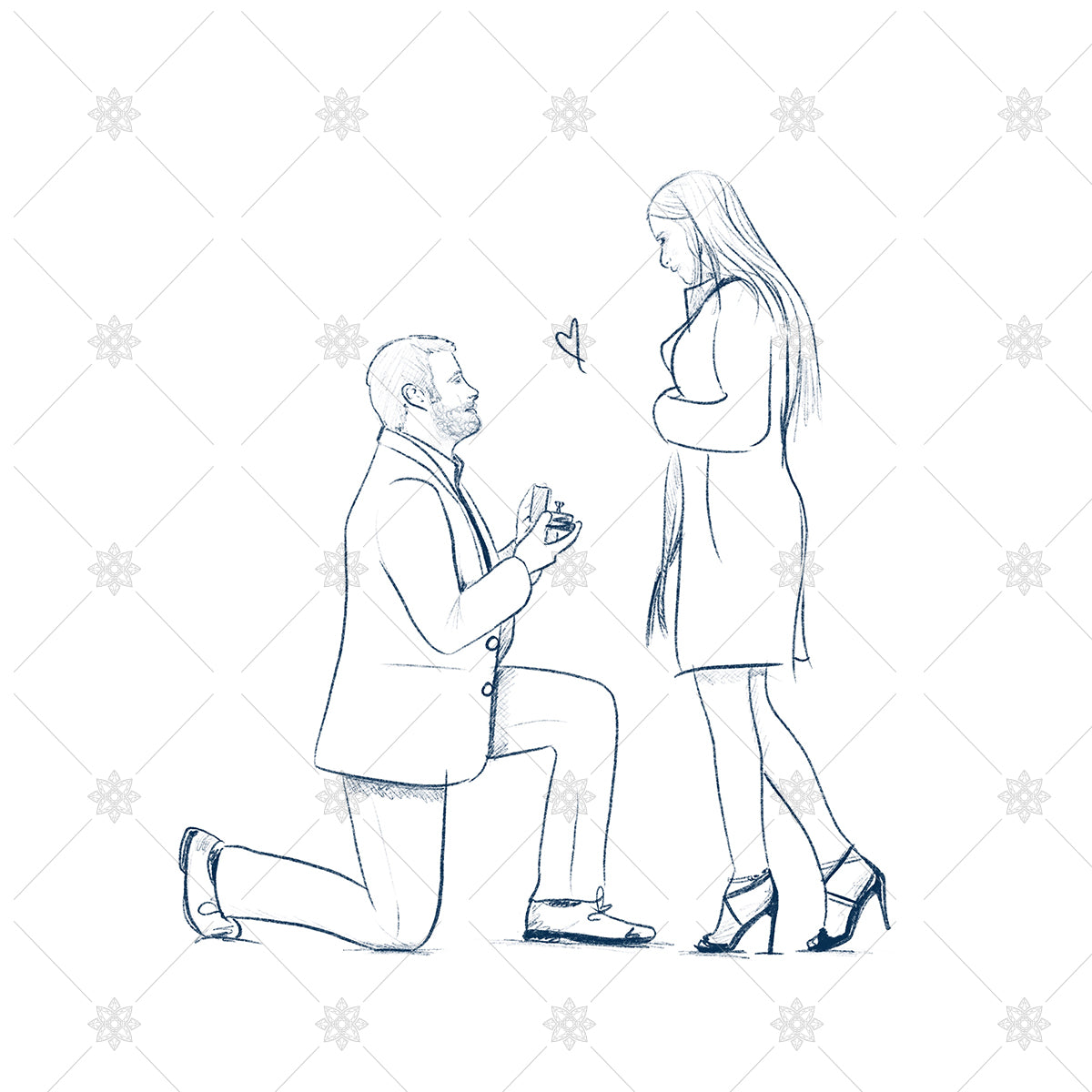 getting engaged proposal sketch