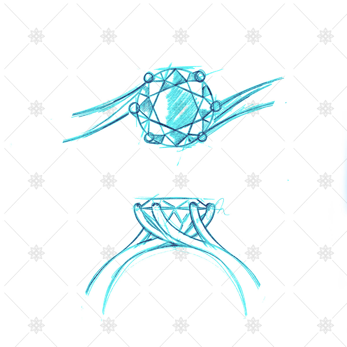 Diamond ring pencil sketch coloured drwaing