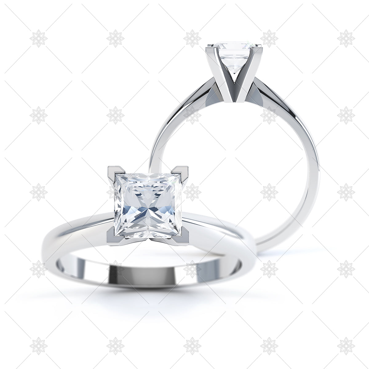 4 claw princess cut ring image