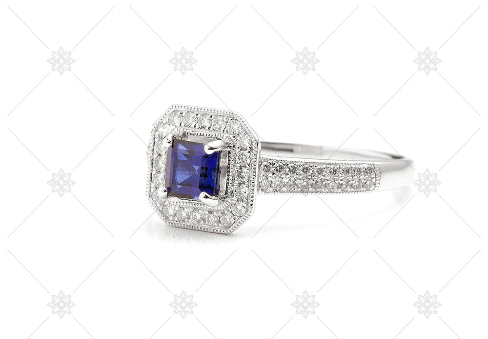 vintage halo blue sapphire ring