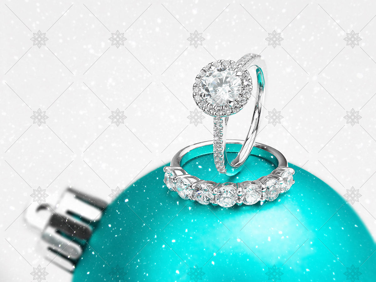 diamond ring on christmas bauble