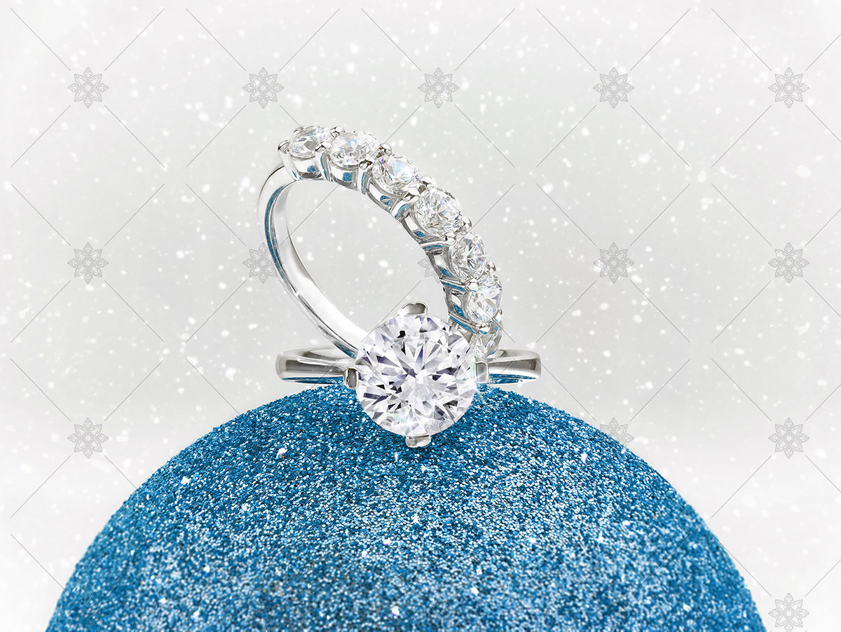 winter diamond rings with christmas bauble