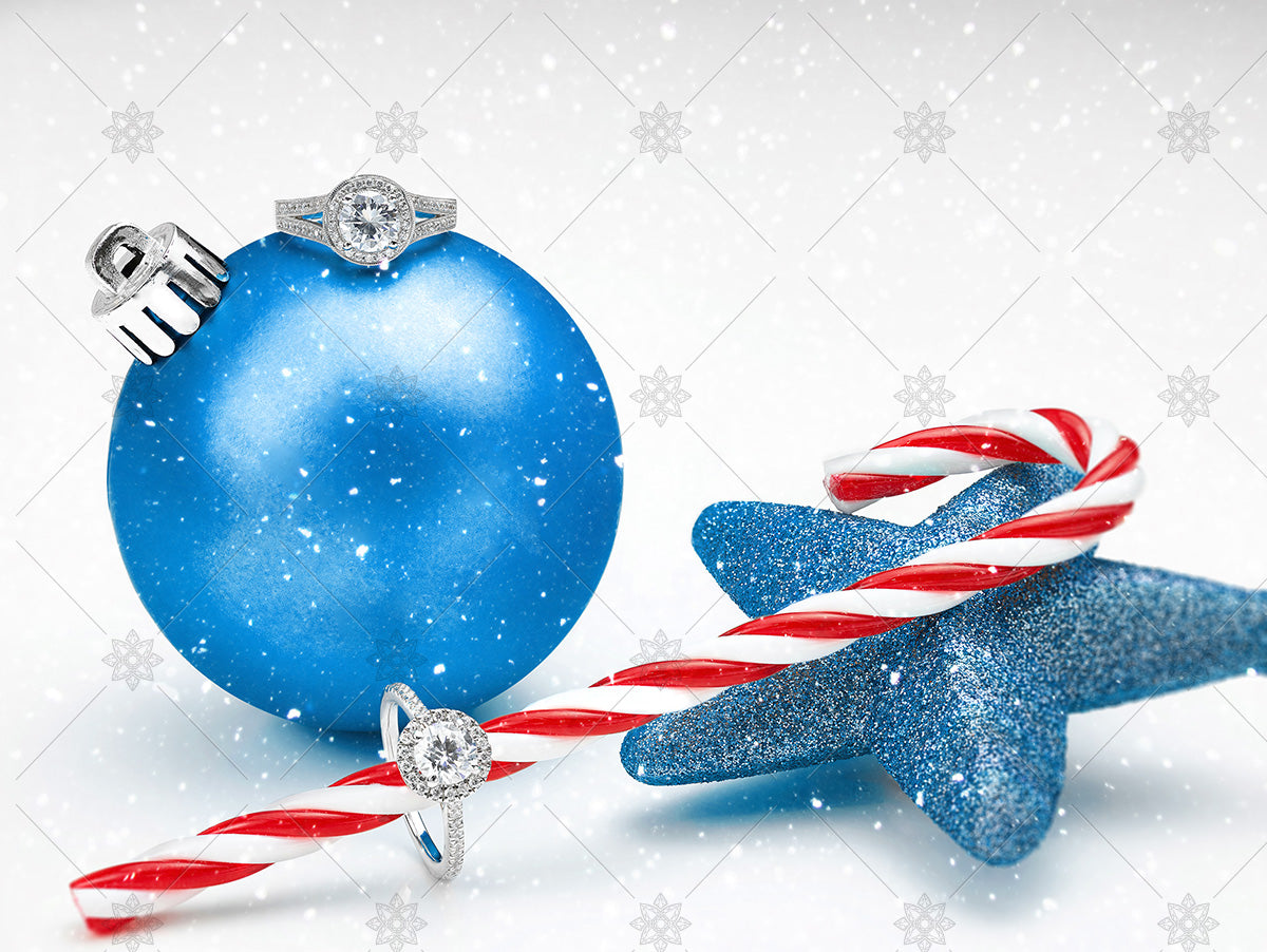 diamond rings blue bauble christmas jewellery