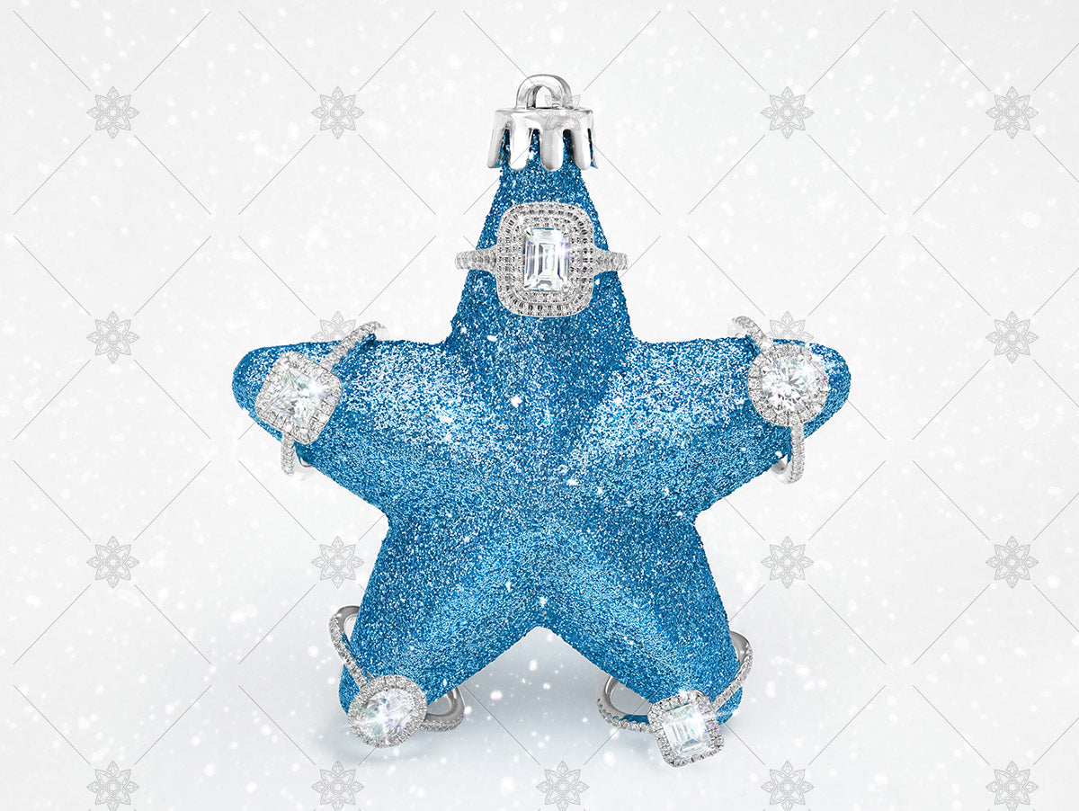 blue christmas star bauble with diamond rings