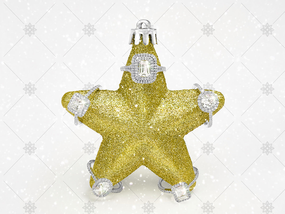 yellow christmas star diamond halo rings
