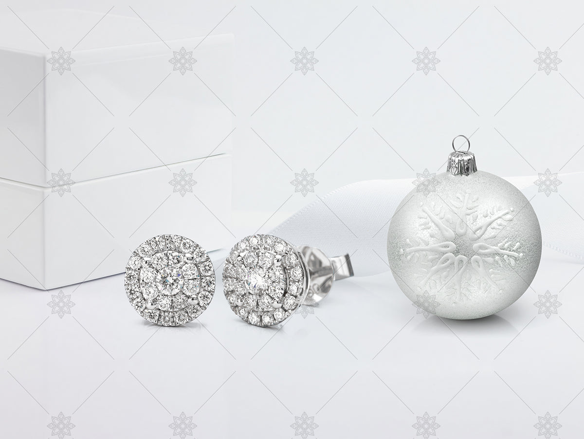 Halo Diamond Earrings with Silver Christmas Bauble