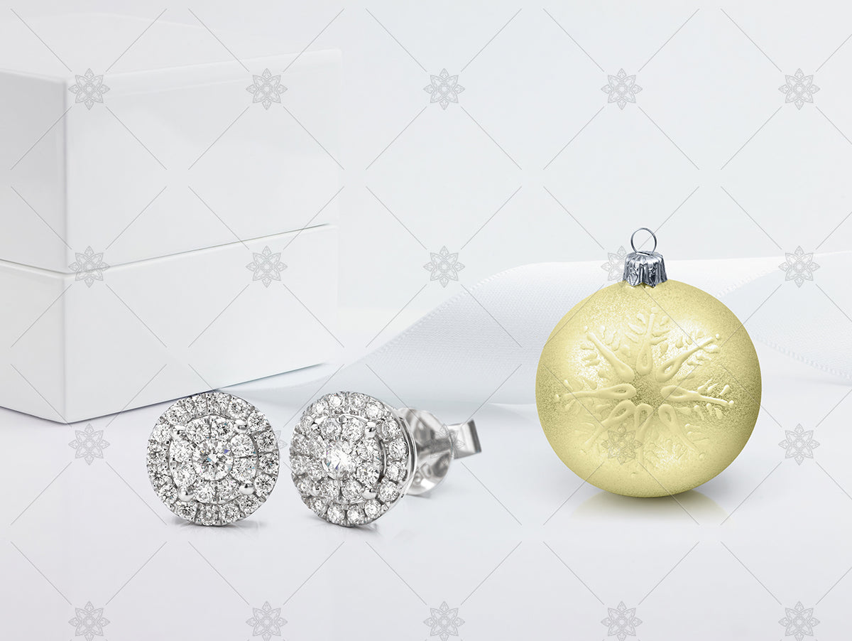 Halo Earrings with gold christmas bauble