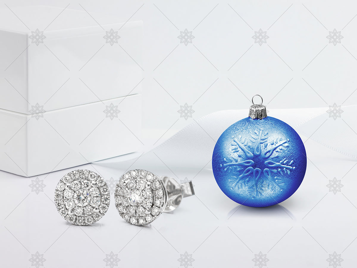 Christmas bauble with diamond earrings