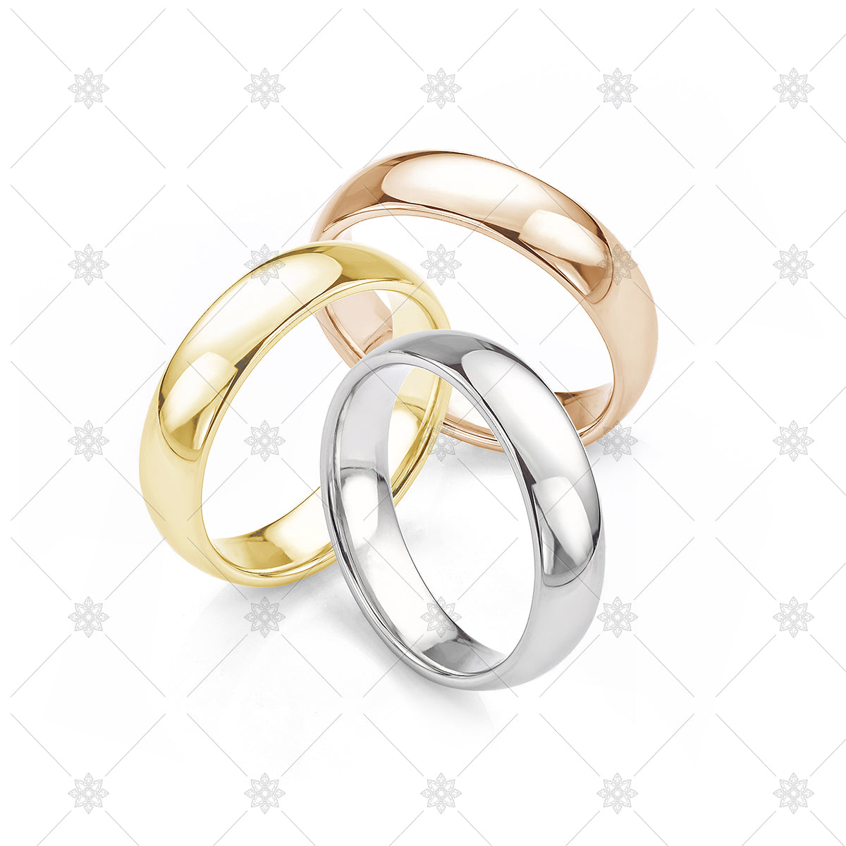 Trio of wedding rings