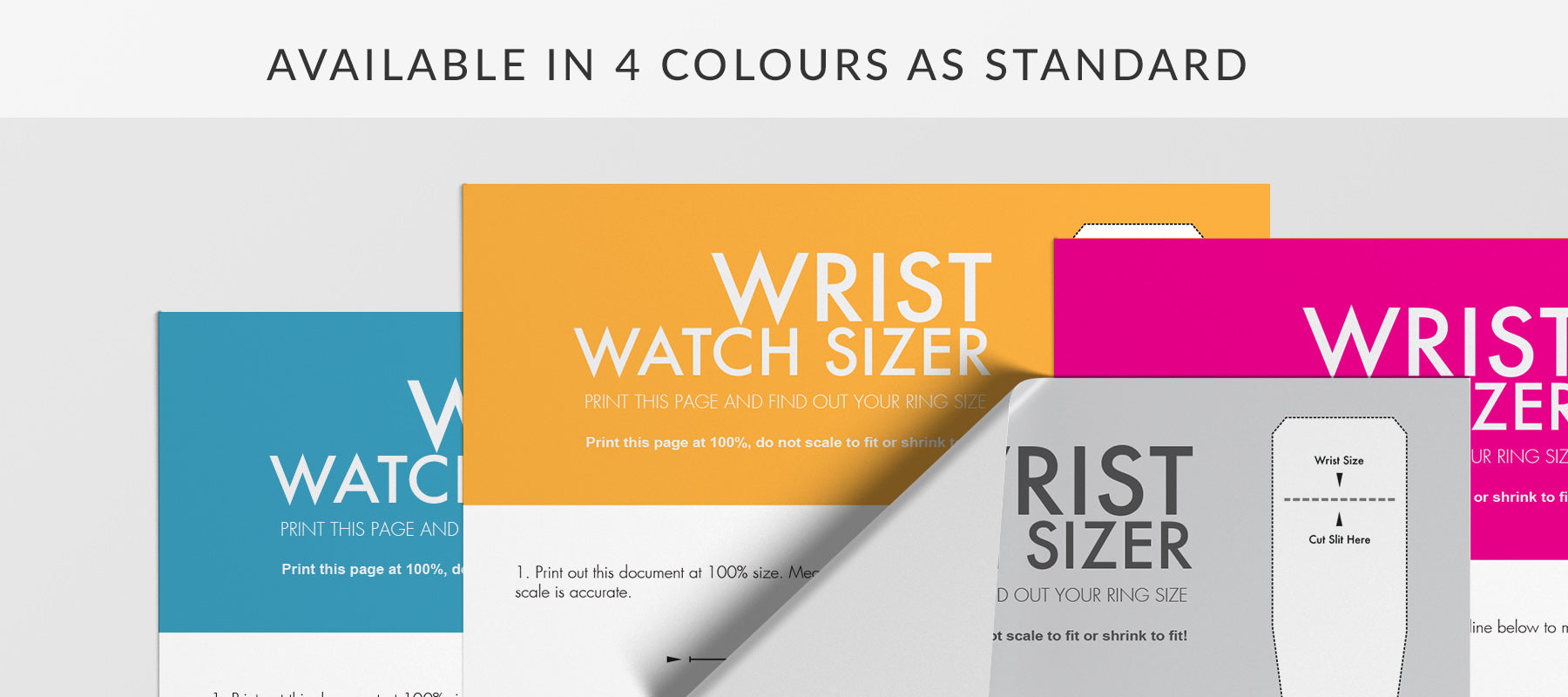 Wrist watch size chart colours